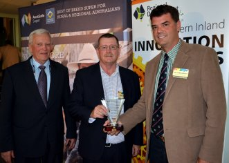"The AustSafe Super 'Agriculture / Horticulture and Associated Services category' was ""Central North Poultry Innovation Ltd"", Peter Pulley and Guy Hebblewhite received the award from AustSafe Super's Wayne Hulin (centre)."