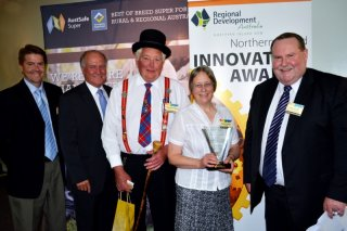 Member for Tamworth, Kevin Anderson; Member for New England, Tony Windsor; Howard and Pam Eastwood from 2011 Innovation of the Year winner, Glen Innes based 'Photo Create'; and Chair of Regional Development Australia Northern Inland, Mal Peters.