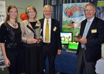 AgriFood Skills Australia CEO, Arthur Blewitt (right) with winners of the 'Research and Education Category' Laura, Barbara and Graham East from Armidale educational software business EdAlive for its online development, 'ZooWhiz'.