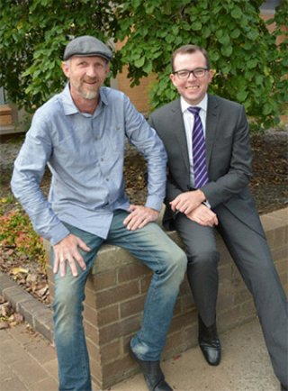 Member for Northern Tablelands Adam Marshall meets with New England Avionics founder and incubator tenant Scott Hamey