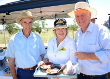 "Liverpool Plains locals, George Masters (Mt. Tamarang) and Rita Dugan (""Williewarina"" Chick Peas, Caroona), with Member for New England, Tony Windsor."