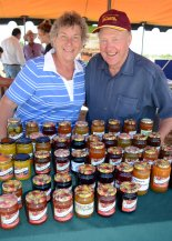 Ros and Ray Neilsen with their jams and condiments from Beaumont Currabubula Apricots.