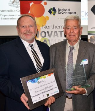 RDA Northern Inland Chair Russell Stewart and the final Innovation of Year recipient Michael Mailler for the Mailler's Chillamurra Solar Farm, Boggabilla in 2017.