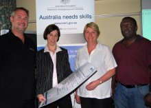 "Migration agent with new Armidale legal firm ""Legal Minds"", Christopher Serow; Regional Development Australia Northern Inland Project Officer, Kim-Trieste Hastings; Officer Manager with Armidale based ""Veterinary Health Research"", Helen Dawson; and Post-graduate student at UNE, Barney Keqa from the Solomon Islands."