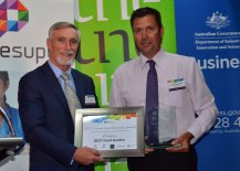 Inverell Shire Mayor Paul Harmon with Danny Middleton from Agriculture/Horticulture and Associated Services winner, The Best Food Garden.