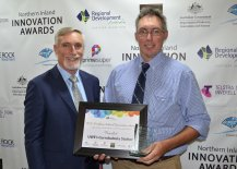 Inverell Shire Mayor Paul Harmon with Agriculture & Horticulture finalist, UWE's Currabubula Station's Tim Griffith.