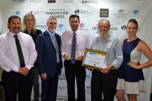 Winning grins from Inverell's Best Employment… Robert Walters, Tom Sanderson, Inverell Shire Mayor Paul Harmon, Danny Middleton, Jon Watts and Kate Ottewell.