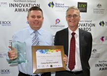 Prime Super Health, Aged-Care and Disability services winner Camp Quality was represented by Armidale Community Activity Group member James Urquhart. Pictured with National Relationships Manager for Prime Super Rod Stewart.
