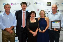 "The Australian Government's Department of Industry, Innovation and Science Regional Manager Grayson Wolfgang (second from left) presented a ""Manufacturing and Engineering"" finalist award to Australian Recycled Plastics' Terrence Duncan, Jennifer Grant, Helen and Dale Smith."