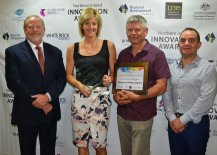 RDA Northern Inland Chair Russell Stewart with 2016 Innovation of the Year Winners, Renee and Craig Neale and Mathew Jensen of Wholegrain Milling Company, Gunnedah.