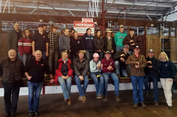 Macintyre High School students and those involved in the Wool Works Shearing School at Glen Innes in July 2018.