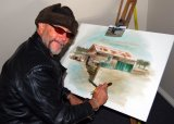 The 'artist in residence' at the Thunder Ridge cellar door was Bruce Shields from the Sunshine Coast.